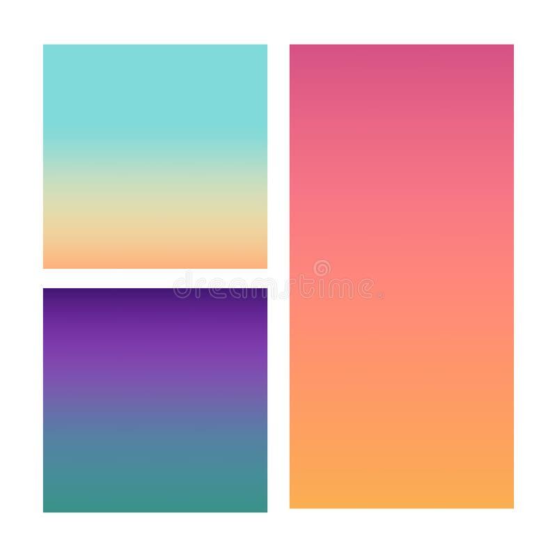 Grupo de fundos abstratos do vetor azuis, cor-de-rosa, de roxo e de laranja ilustração stock