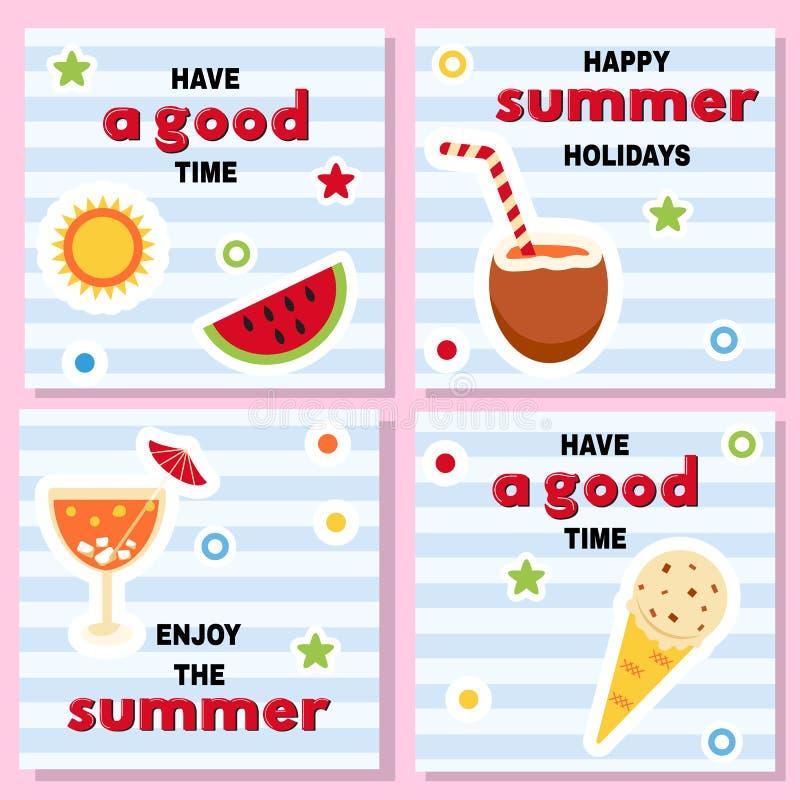 Grupo de fundos bonitos para férias de verão ilustração do vetor