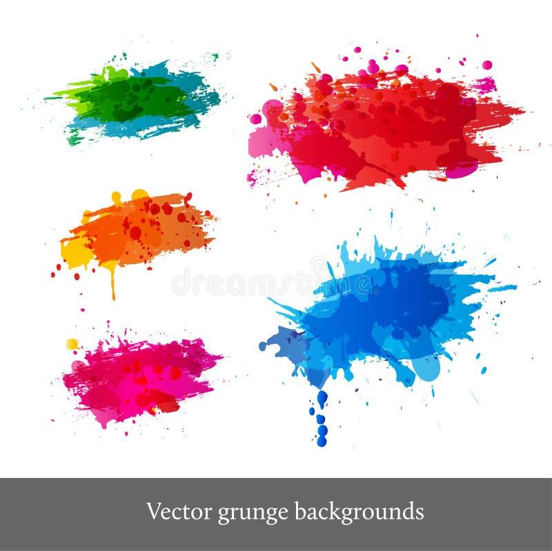 Grupo de fundos brilhantes do grunge ilustração do vetor