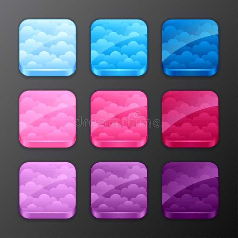 Grupo de fundos com as nuvens para os ícones do app ilustração stock