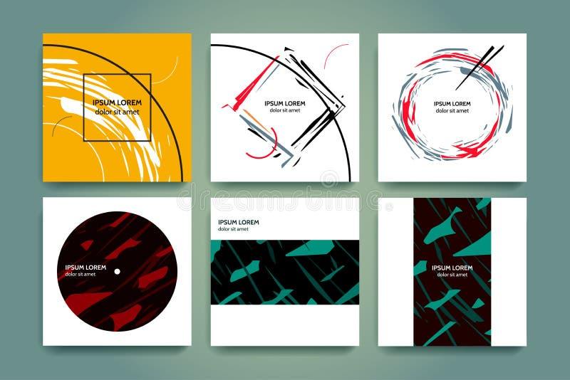 Grupo de fundos criativos do minimalismo Geometria abstrata e formulários rasgados Estilo tirado mão Aplicável para as tampas da  ilustração royalty free