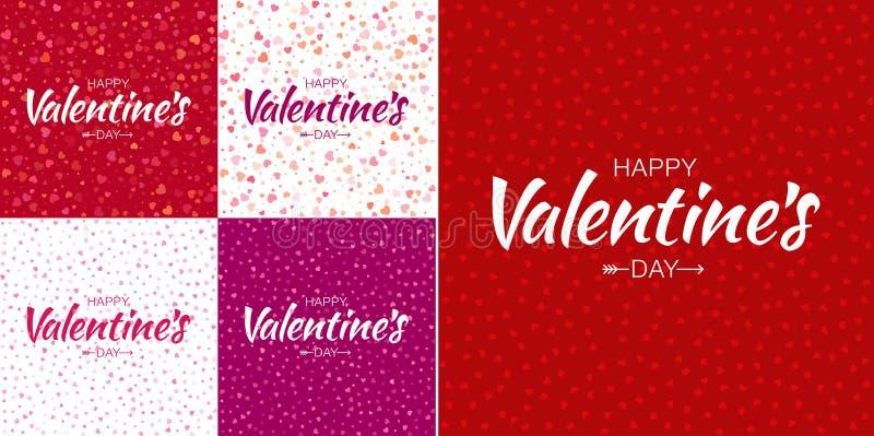 Grupo de fundos do cartão do dia de Valentim com textura pequena colorida dos corações e rotulação feliz do dia de Valentim ilustração do vetor