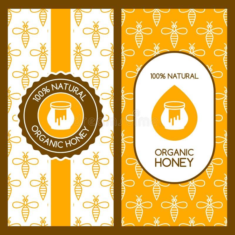 Grupo de fundos do mel do vetor para a etiqueta, pacote, bandeira Teste padrão sem emenda com abelhas lineares ilustração stock