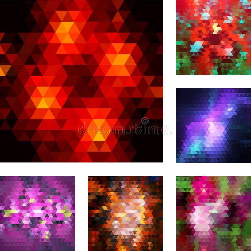 Grupo de fundos geométricos abstratos. ilustração royalty free