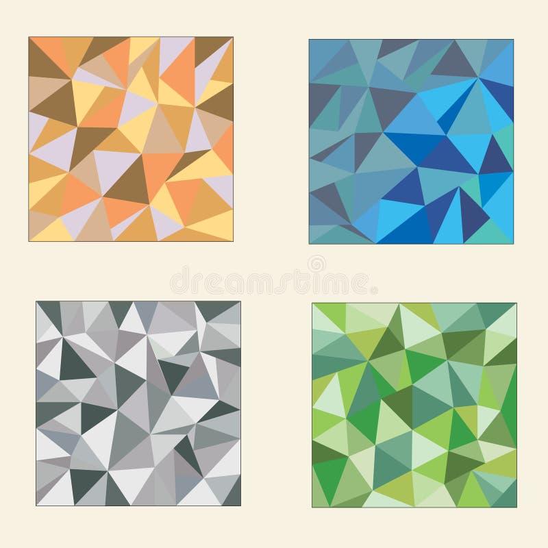 Grupo de fundos poligonais coloridos ilustração royalty free