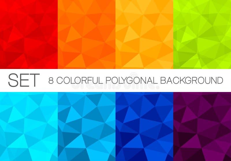 Grupo de fundos poligonais coloridos do vetor ilustração royalty free