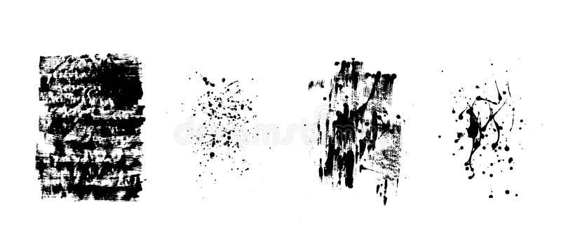 Grupo de fundos pretos artísticos do grunge Textura do vetor Elemento artístico sujo do projeto O curso da escova, chapinha ilustração do vetor