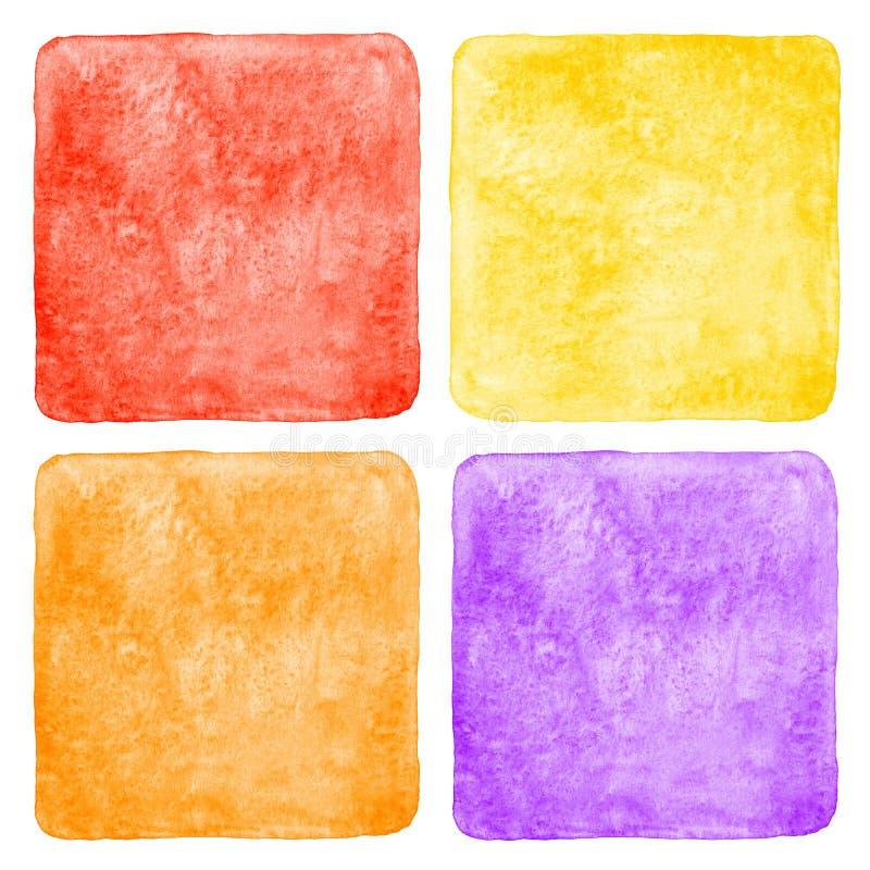 Grupo de fundos quadrados coloridos da aquarela ilustração do vetor