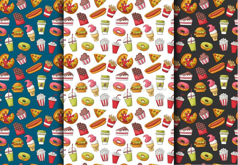 Grupo de fundos sem emenda do teste padrão do fast food Decoração do menu do restaurante Repita o contexto para a tampa, papel de ilustração royalty free