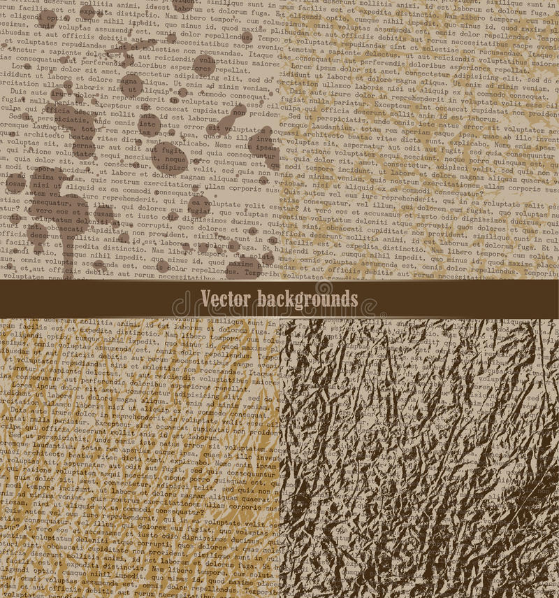 Grupo de fundos sujos Papel velho com texto dactilografado ilustração do vetor
