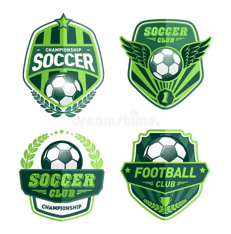 Grupo de futebol Logo Design Templates, crachá do verde do vintage do futebol ilustração stock