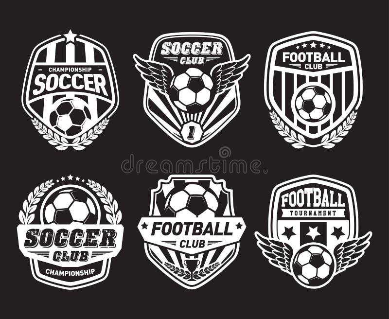 Grupo de futebol Logo Design Templates, crachá do vintage do futebol ilustração royalty free