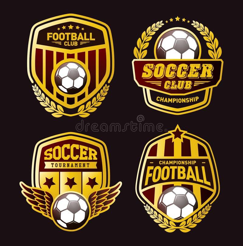 Grupo de futebol Logo Design Templates, crachá dourado do vintage do futebol ilustração royalty free