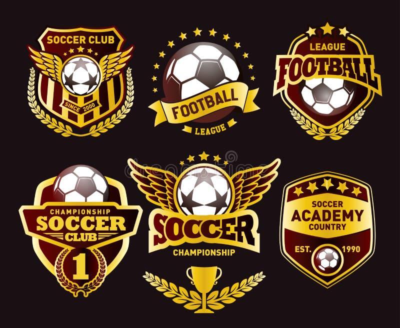 Grupo de futebol Logo Design Templates, crachá dourado do vintage do futebol ilustração do vetor