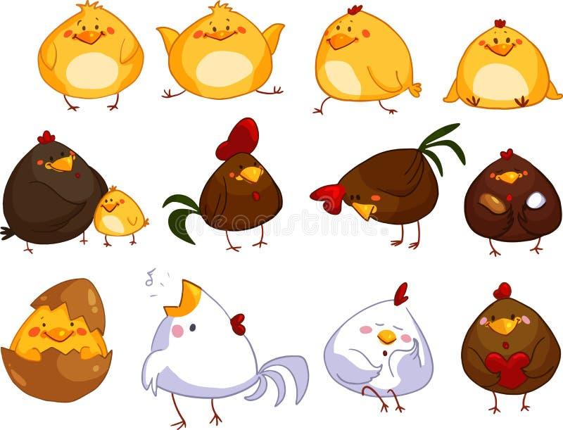 Grupo de galinhas bonitos dos desenhos animados fotos de stock royalty free