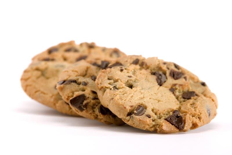 Grupo de galletas de viruta de chocolate imagenes de archivo