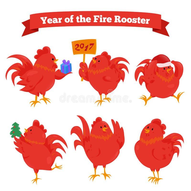Grupo de galo chinês do fogo do zodíaco dos desenhos animados ilustração stock