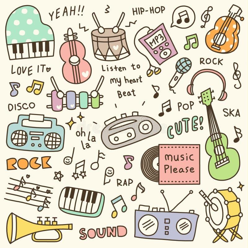 Grupo de garatuja bonito do instrumento de música & do jogador de música ilustração royalty free