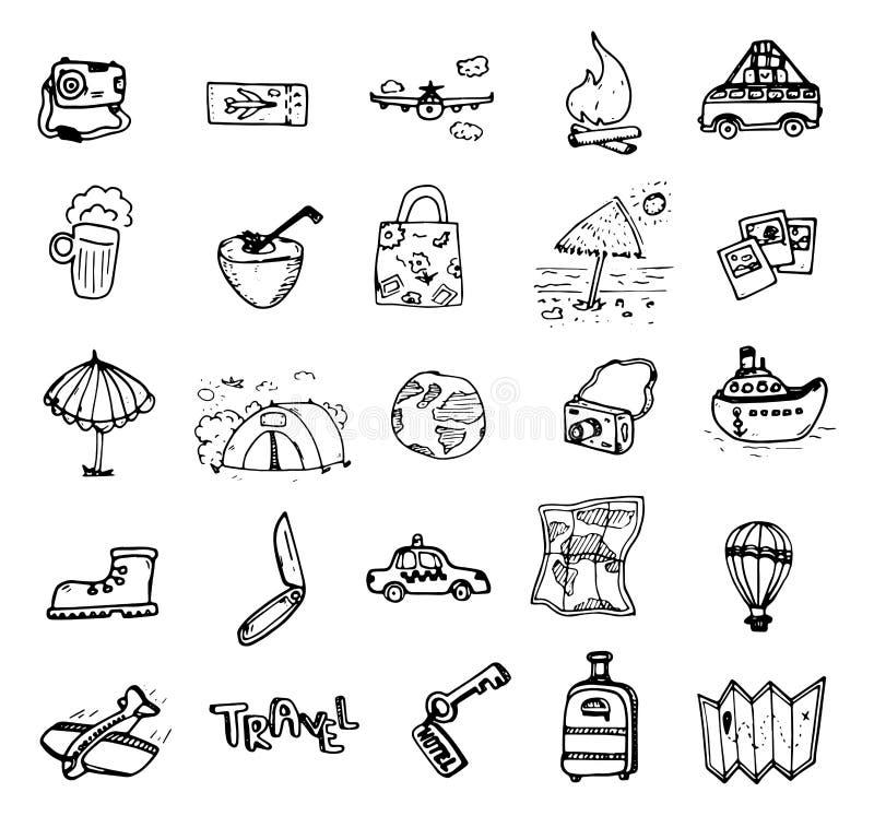 Grupo de garatuja tirada mão do curso Ilustração do vetor Esboço do turismo e do verão com elementos de viagem: compasso, biquini ilustração stock