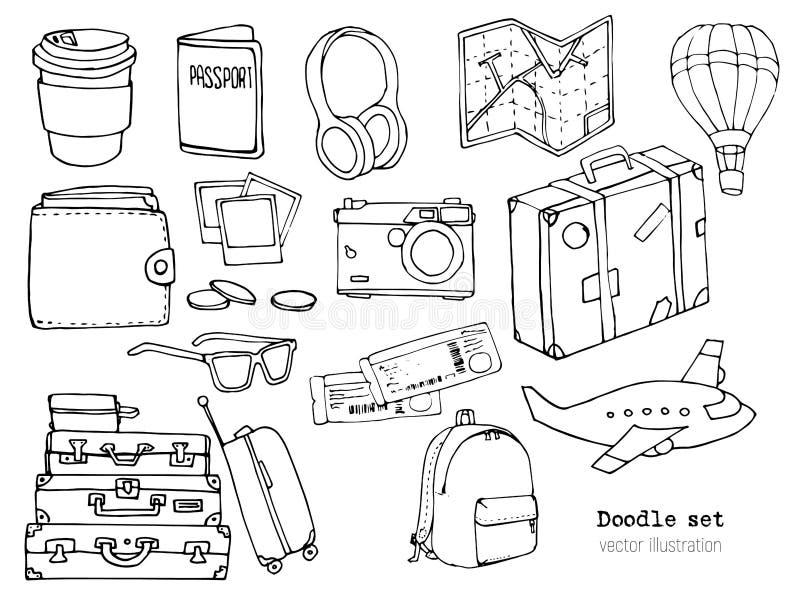 Grupo de garatuja tirada mão do curso Ilustração do vetor Férias ou hora viajar conceito Esboço do turismo e da viagem com desenh ilustração royalty free