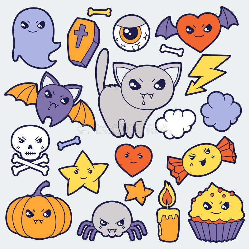 Grupo de garatujas bonitos e de objetos do kawaii do Dia das Bruxas ilustração stock