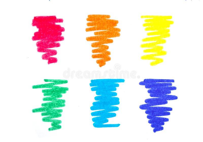 Grupo de garatujas coloridas das penas de marcador fotos de stock royalty free