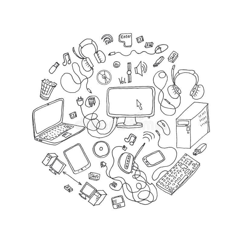 grupo de garatujas tiradas mão do dispositivo eletrônico ilustração royalty free