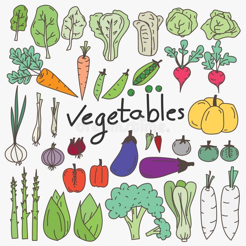 Grupo de garatujas tiradas mão dos vegetais ilustração stock