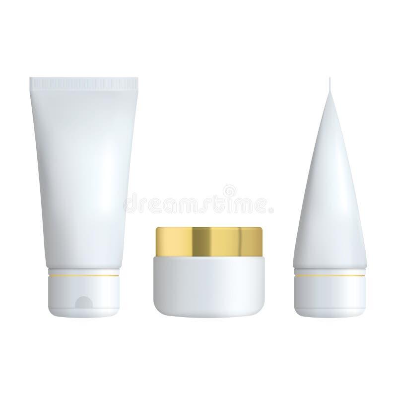 Grupo de garrafa cosmética realística em um fundo branco A coleção cosmética do pacote para o creme, sopas, espuma, champô ilustração stock