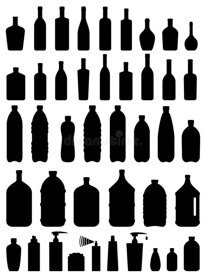 Grupo de garrafa do vidro, do plástico e do cosmético ilustração royalty free