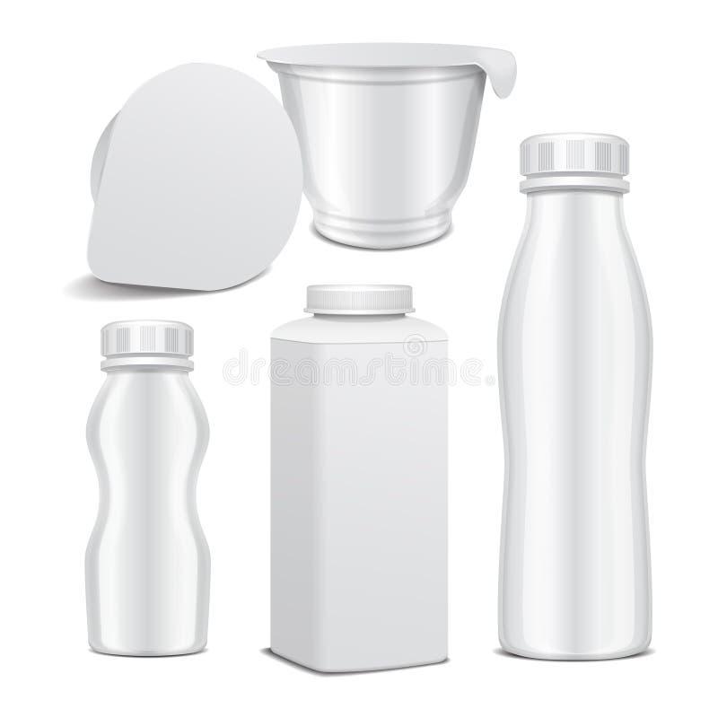 Grupo de garrafa plástica do vetor e de potenciômetro plástico lustroso branco redondo para produtos láteos Para o leite, iogurte ilustração do vetor