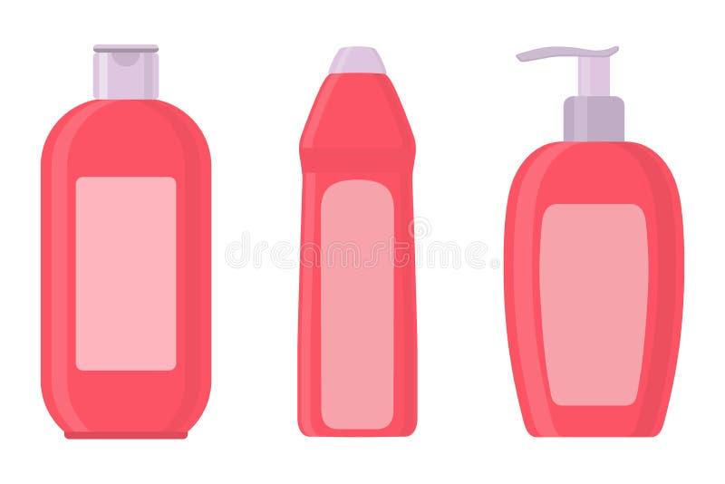 Grupo de garrafas cosméticas no estilo liso Sabão, champô, garrafas cor-de-rosa da loção Ilustração do vetor ilustração do vetor