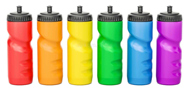 Grupo de garrafas de água plásticas coloridas do esporte, rendição 3D ilustração do vetor