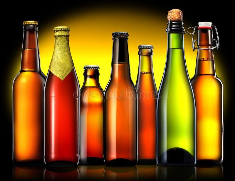 Grupo de garrafas de cerveja no fundo preto imagens de stock royalty free