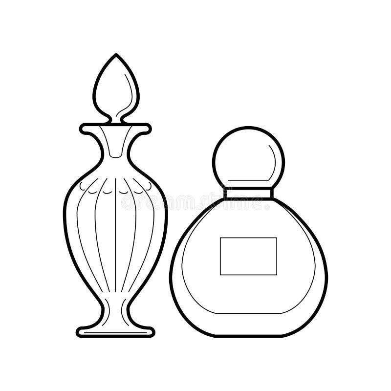 Grupo de garrafas de perfume ícone, ilustração do vetor ilustração do vetor