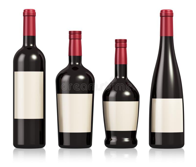 Grupo de garrafas do vinho e do conhaque ilustração do vetor