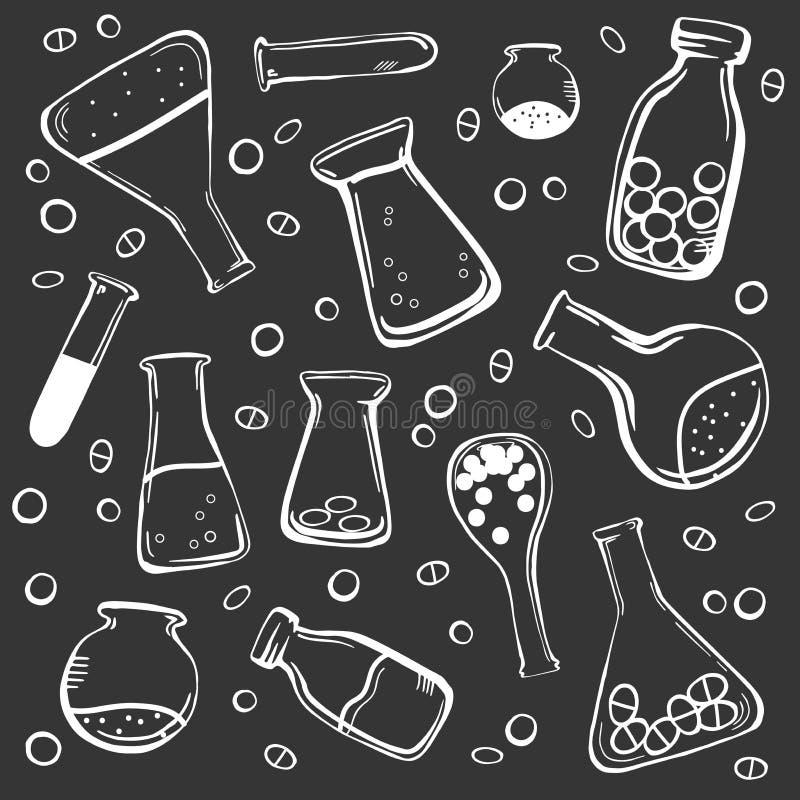 Grupo de garrafas médicas ilustração stock