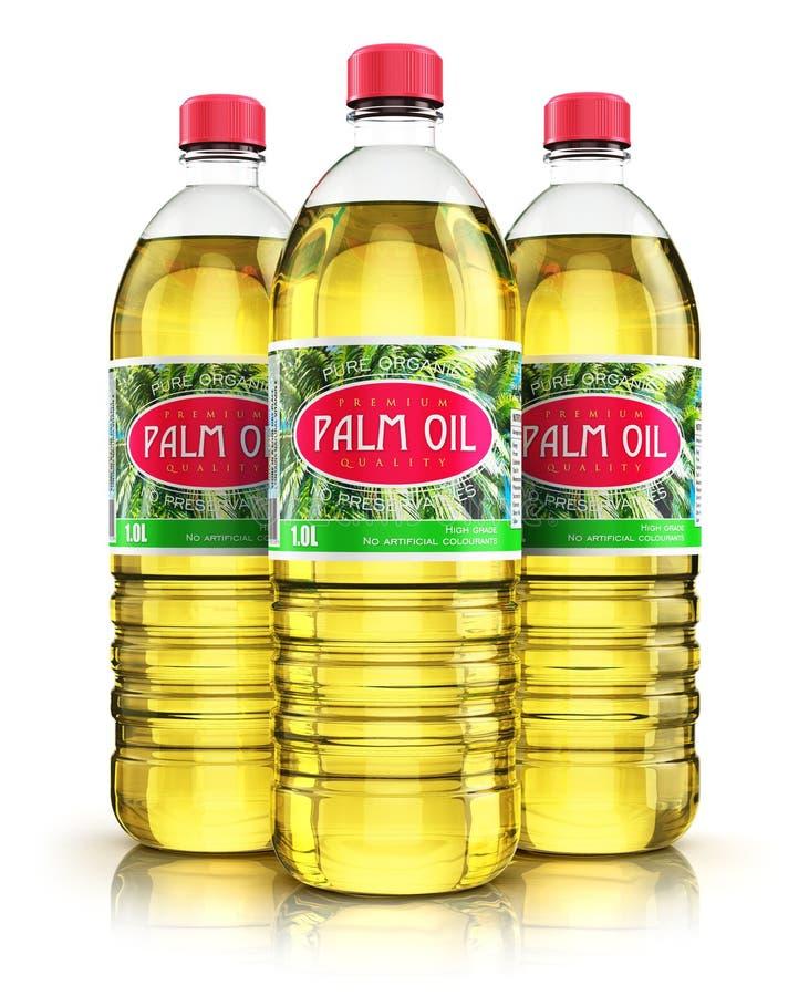 Grupo de garrafas plásticas com óleo de palma ilustração stock