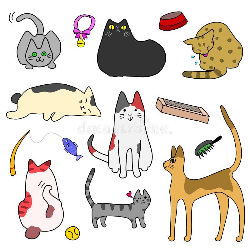 Grupo de gatos bonitos e de bens ilustração stock