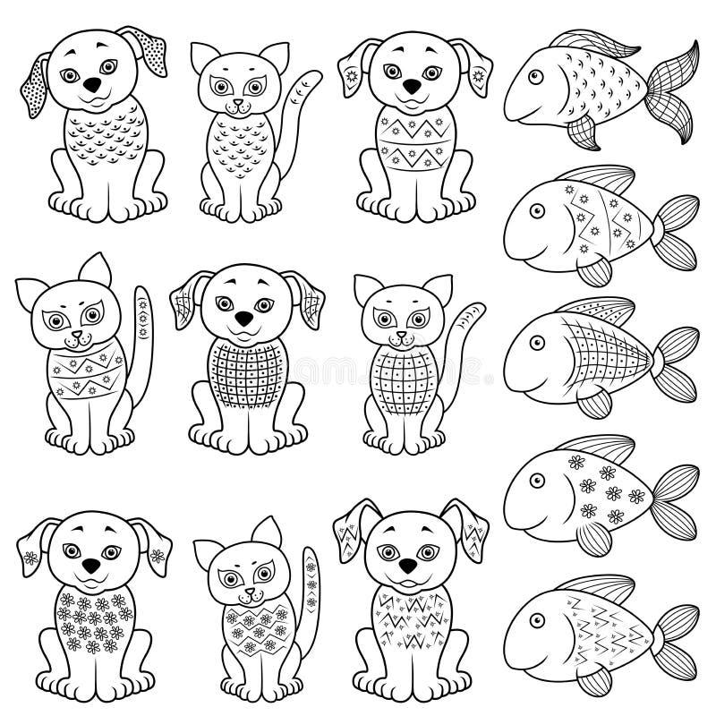 Grupo de gatos, de cães e de peixes dos desenhos animados ilustração stock