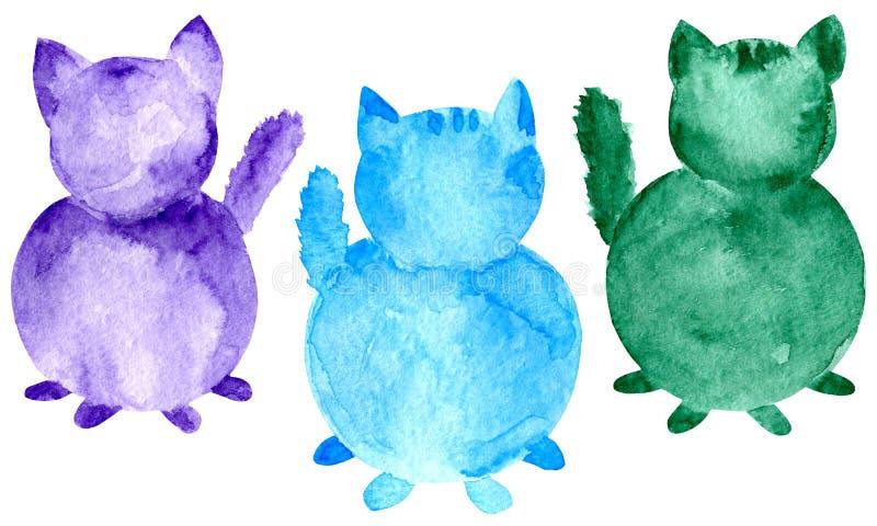 Grupo de gatos da aquarela Azul roxo pintado ? m?o e silhueta verde isolados no fundo branco ilustração royalty free