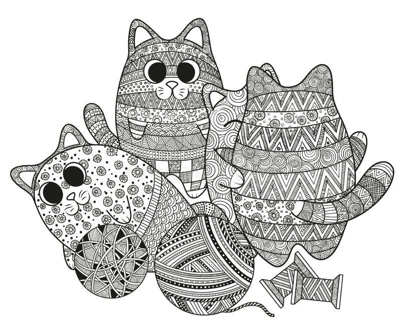 Grupo de gatos do boho ilustração royalty free