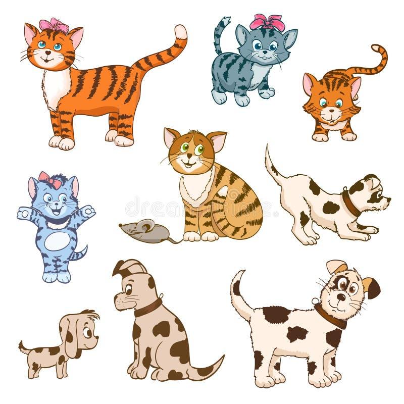 Grupo de gatos e de cães dos desenhos animados ilustração royalty free