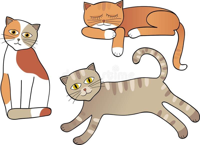 Grupo de gatos isolados ilustração do vetor