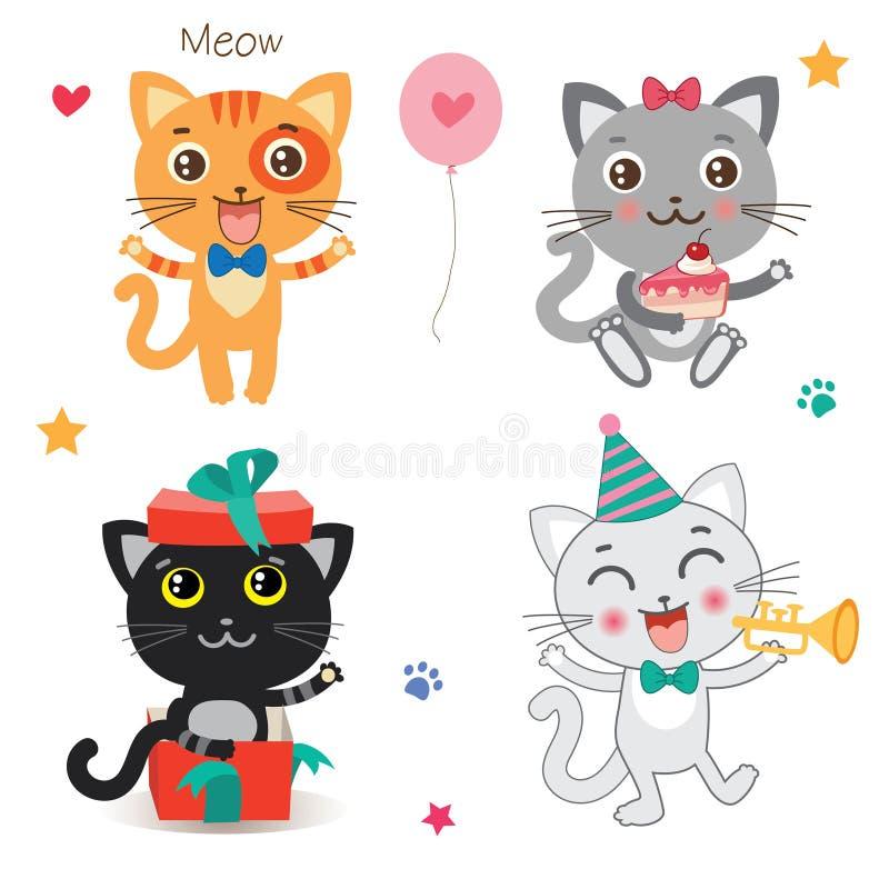 Grupo de gatos pequenos bonitos Animal dos desenhos animados Coleção do vetor em um fundo branco ilustração royalty free