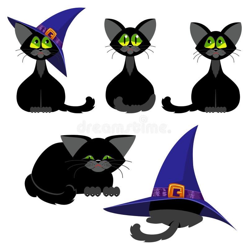 Grupo de gatos pretos em várias poses Halloween ilustração royalty free