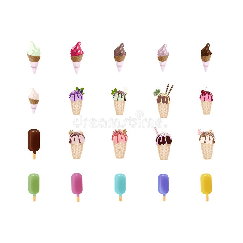 Grupo de gelado colorido no cones dos waffles Isolado no fundo branco ilustração do vetor