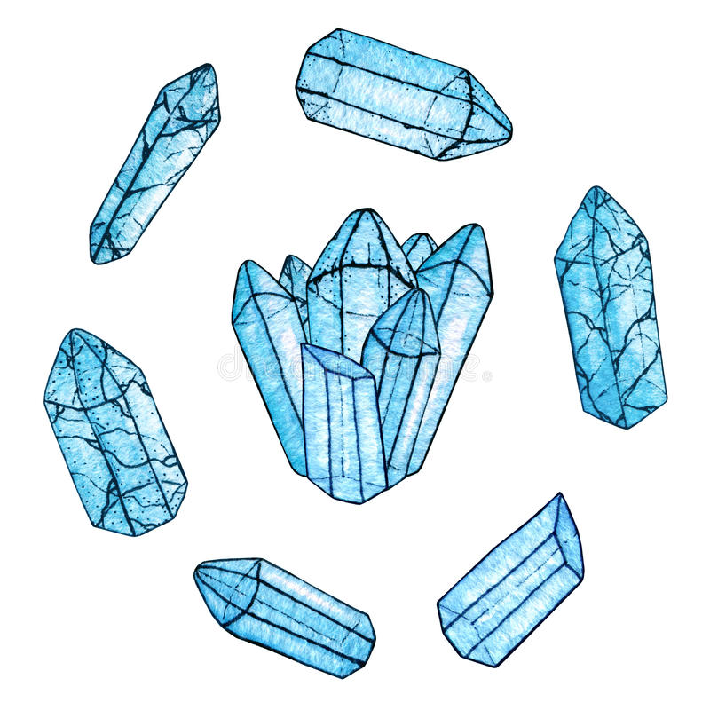 Grupo de gemas azuis pintados à mão da aquarela e da tinta e um grupo de cristais ilustração stock