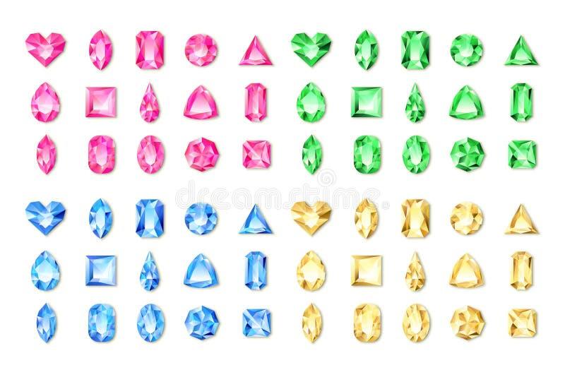 Grupo de gemas realísticas e de joias vermelhas do vetor, verdes, azuis, amarelas no fundo branco Diamantes brilhantes multicolor ilustração do vetor