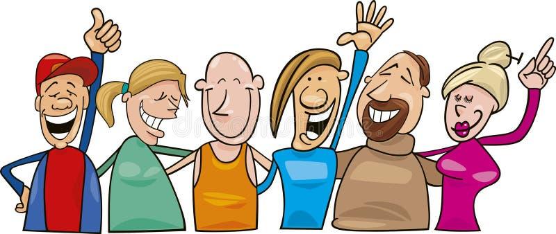 Grupo de gente alegre ilustración del vector